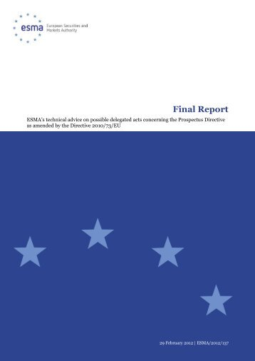 Final report: ESMA's technical advice on possible ... - Esma - Europa