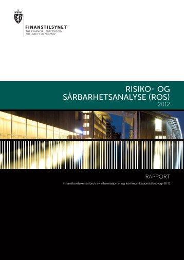 RISIKO- Og SÅRBARHETSANALYSE (ROS) - Finanstilsynet