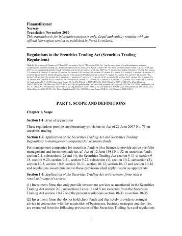 Finanstilsynet Regulations to the Securities Trading Act (Securities ...