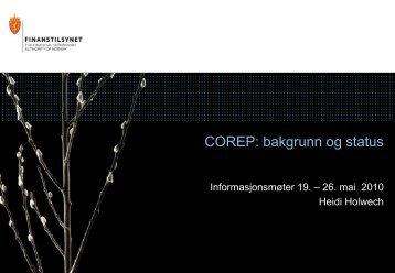 COREP - status mai 2010 - Finanstilsynet