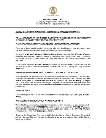 NOTICE OF EXPIRY OF WARRANT - FinanzNachrichten.de