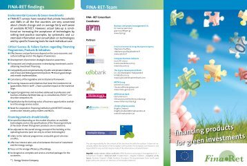 financing products for green investments - Fina-Ret