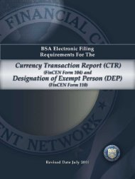 BSA Electronic Filing Requirements For The Currency - FinCEN