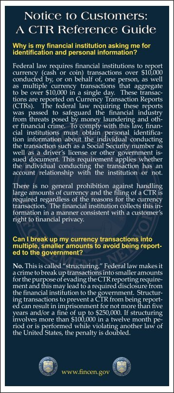Notice to Customers: A CTR Reference Guide - FinCEN