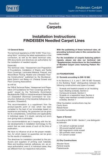 Carpets Installation Instructions FINDEISEN ... - Findeisen GmbH