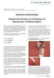 Nadelvlies-Bodenbeläge Ergänzende Hinweise ... - Findeisen GmbH