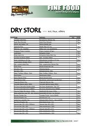 DRY STORE - Fine Food International