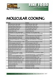 MOLECULAR COOKING - Fine Food International