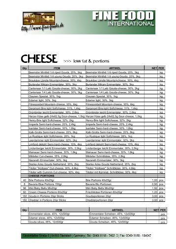 CHEESE >>> low fat & portions - Fine Food International