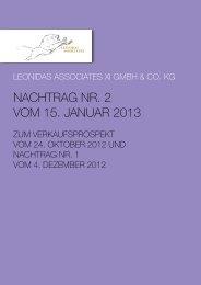 NACHTrAG Nr. 2 Vom 15. JANuAr 2013 - UDI
