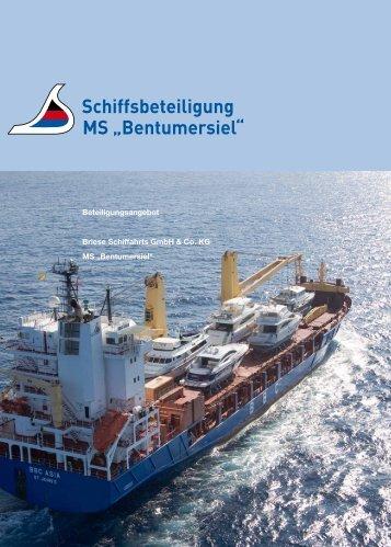 """Schiffsbeteiligung MS """"Bentumersiel"""""""