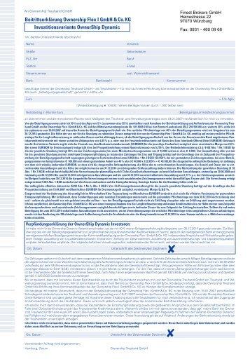 Beitrittserklärung Ownership Flex I GmbH & Co. KG ...