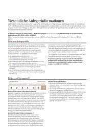 Wesentliche Anlegerinformationen - FiNet Asset Management AG