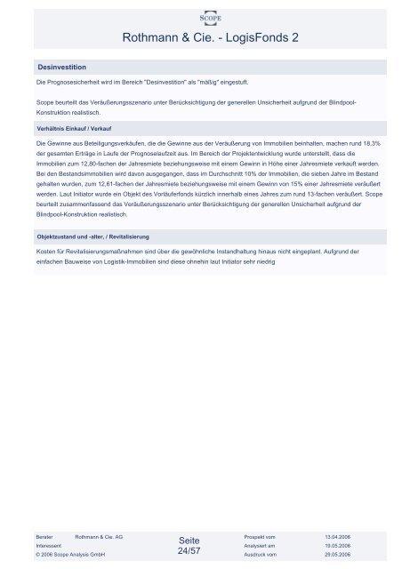 Rothmann & Cie. - LogisFonds 2 - Finest Brokers GmbH