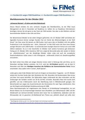 Marktkommentar für den Oktober 2012 - FiNet Asset Management AG