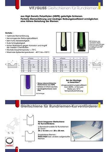 VIT/GLISS Gleitschienen für Rundriemen Gleitschiene für - MAFDEL