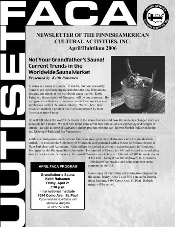 NEWSLETTER OF THE FINNISH AMERICAN CULTURAL ...