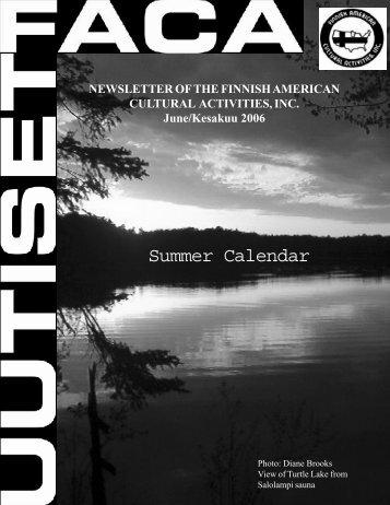 Summer Calendar - Finnish American Cultural Activities, Inc.