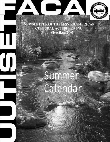 Summer Calendar - Finnish American Cultural Activities, Inc.
