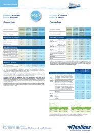 Information and reservations One-way fares GERMANY ... - Finnlines