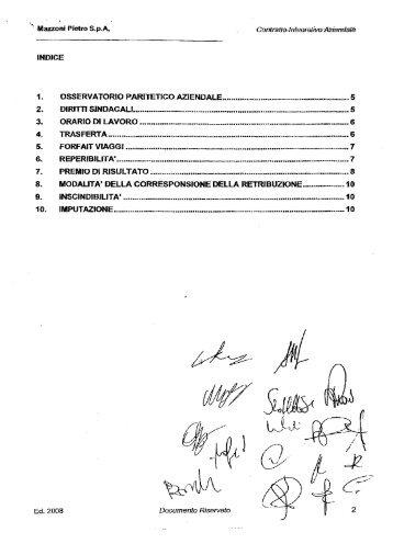 Contratto integrativo della Mazzoni Pietro Spa - Fiom - Cgil