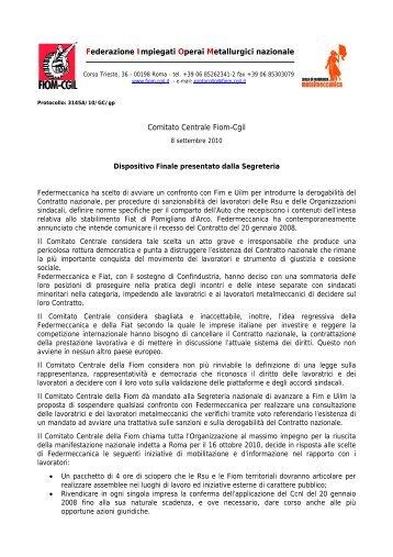 Dispositivo presentato dalla Segreteria nazionale Fiom-Cgil (PDF)