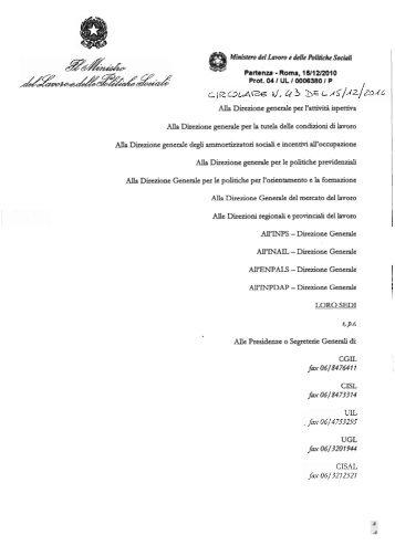 Circolare n. 43 del 15 dicembre 2010 - Ministero del lavoro, salute e ...