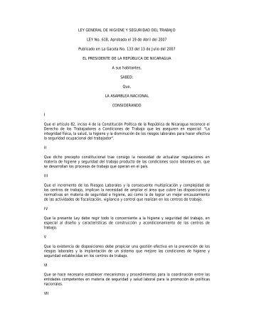 Ley General de Higiene y Seguridad del Trabajo, No 618. - FIQ