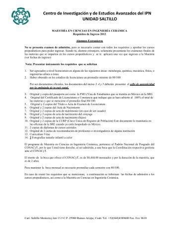 Centro de Investigación y de Estudios Avanzados del IPN ... - Inicio