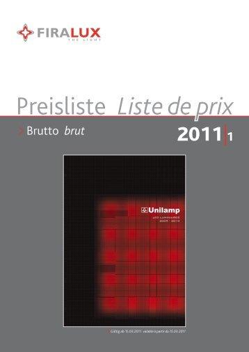 Preisliste Liste de prix - Firalux Design AG