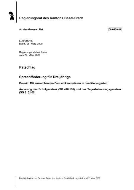 Ratschlag Sprachförderung für Dreijährige - Grosser Rat - Basel-Stadt