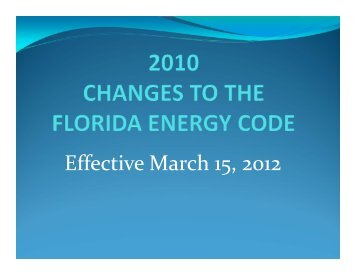 Effective March 15, 2012 - Florida Building Code Information System