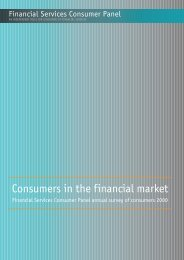 Financial Services Consumer Panel annual survey of consumers 2000