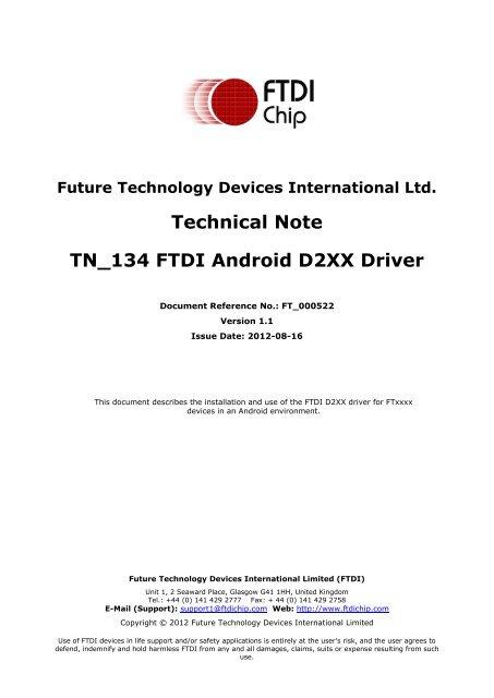TN_134 FTDI Android D2XX Driver