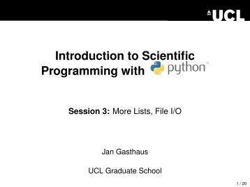 Introduction to Scientific Programming with Python - UCL