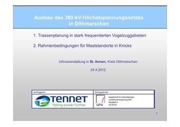 Ausbau des 380-kV-Höchstspannungsnetzes in Dithmarschen