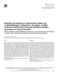 Radiküler Bel Ağrılarının Tedavisinde Fiziksel Tıp ve ... - FTR Dergisi