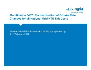 Modification 0407: Standardisation of Offtake Rate Changes for all ...