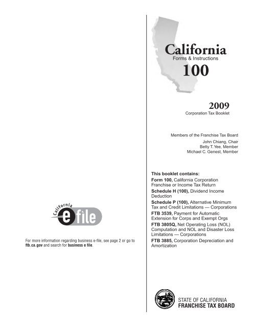 2009 100 Booklet California Franchise Tax Board State Of