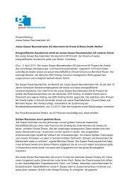 Pressemitteilung Josias Gasser Baumaterialien AG Josias Gasser ...