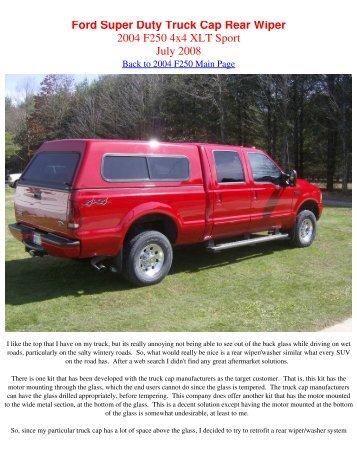 Ford Super Duty Truck Cap Rear Wiper 2004 F250 4x4 XLT Sport ...