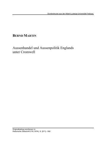 Aussenhandel und Aussenpolitik Englands unter Cromwell