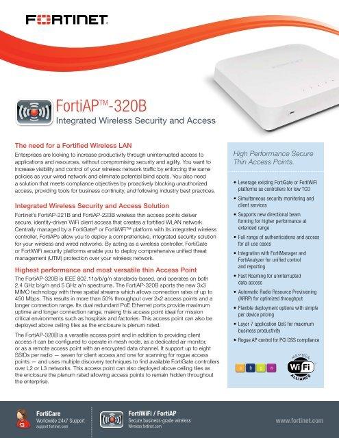 FortiAP 320B datasheet - Fortinet