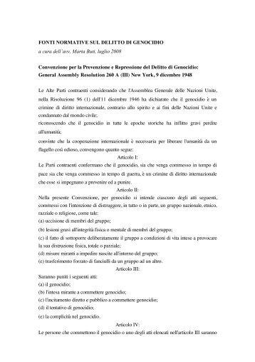 Fonti normative crimine genocidio - Gariwo