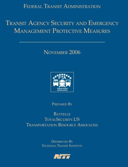 Transit Agency Security and Emergency Management Protective ...