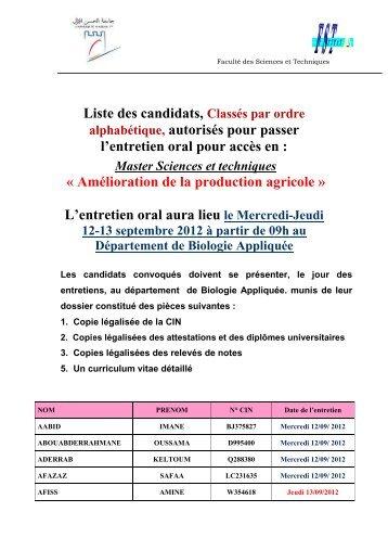 Candidats Convoques A L Entretien Oral D Admission Au Master