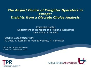 The Airport Choice of Freighter Operators in Europe