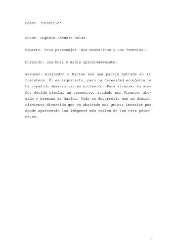 """Sobre """"Deshielo"""" Autor: Eugenio Asensio Solaz. Reparto: Tres ..."""