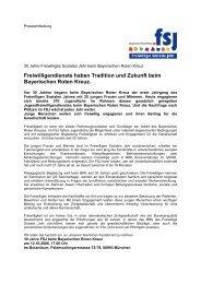 Presseerklaerung 30 Jahre FSJ - Freiwilliges Soziales Jahr beim ...