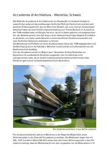 Erfahrungsbericht aus dem Akademischen Jahr 2010/11